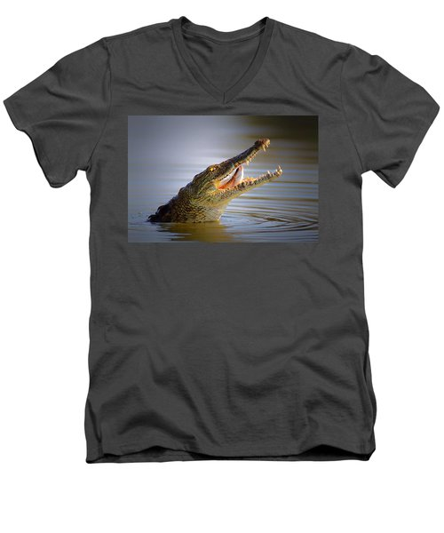 Nile Crocodile Swollowing Fish Men's V-Neck T-Shirt by Johan Swanepoel