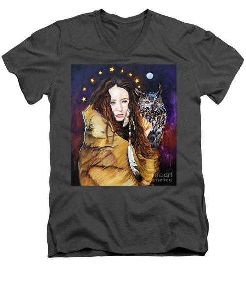Nine Stars Woman / Owl Medicine Men's V-Neck T-Shirt