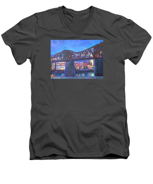 City At Night Downtown Evening Scene Original Contemporary Painting For Sale Men's V-Neck T-Shirt by Quin Sweetman