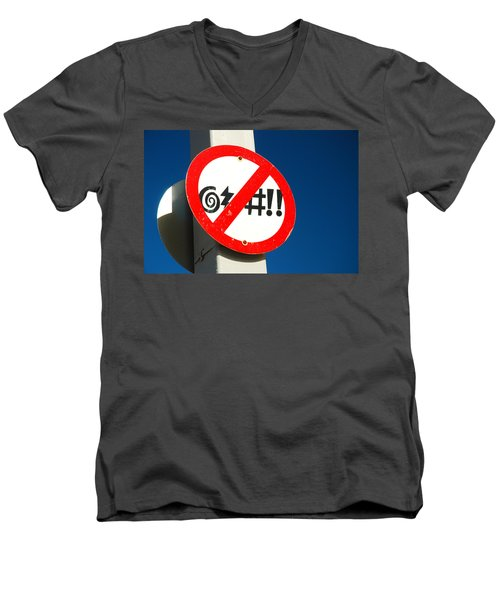 No Cursing Here Men's V-Neck T-Shirt by James Kirkikis