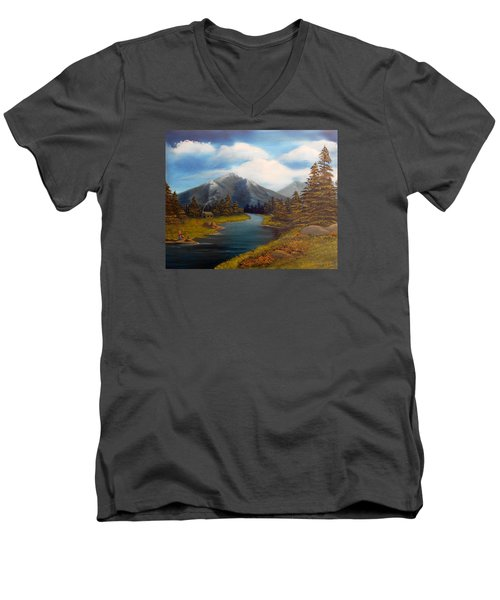 Men's V-Neck T-Shirt featuring the painting No Electronics Here by Sheri Keith