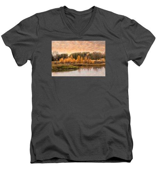 Tamarack Buck Men's V-Neck T-Shirt by Patti Deters