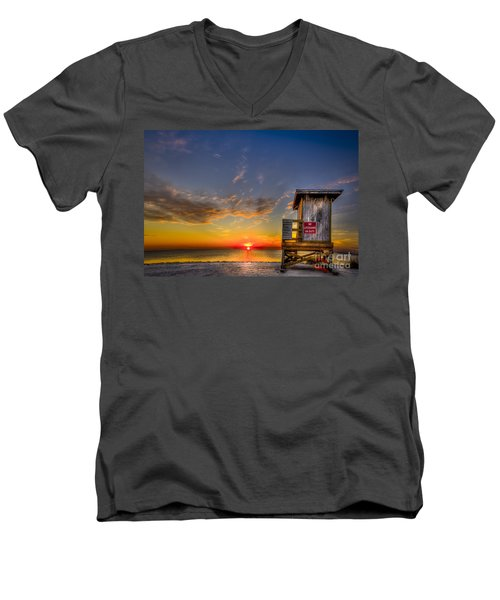 No Life Guard On Duty Men's V-Neck T-Shirt by Marvin Spates