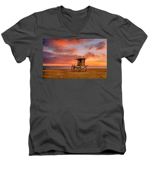 No Lifeguard On Duty At The Wedge Men's V-Neck T-Shirt by Michael Pickett