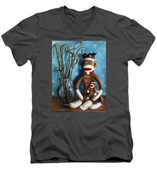 No Monkey Business Here 1 Men's V-Neck T-Shirt by Randy Burns