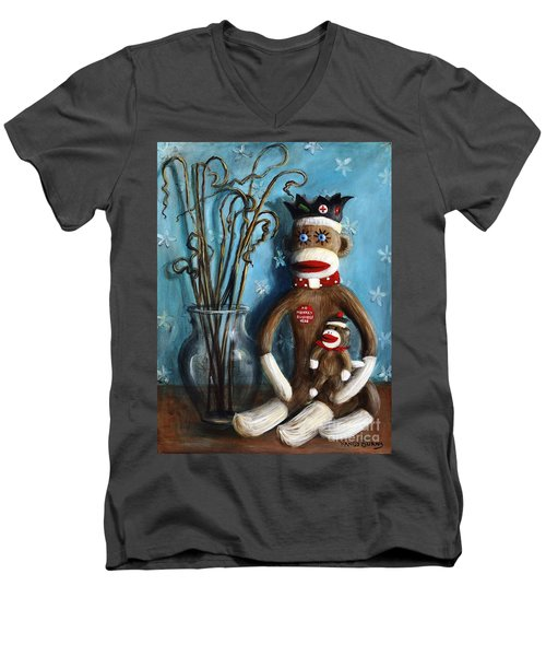 No Monkey Business Here 1 Men's V-Neck T-Shirt