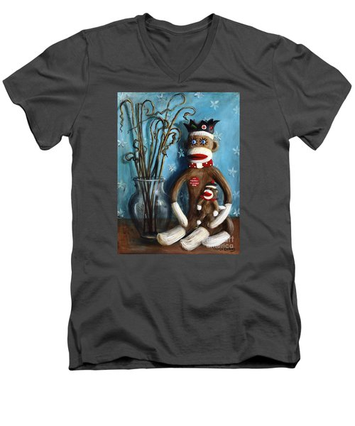 No Monkey Business Here 1 Men's V-Neck T-Shirt
