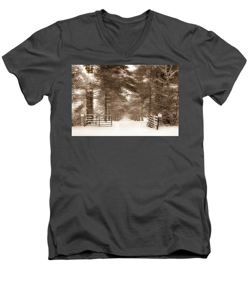 No Trespassing - Sepia Men's V-Neck T-Shirt