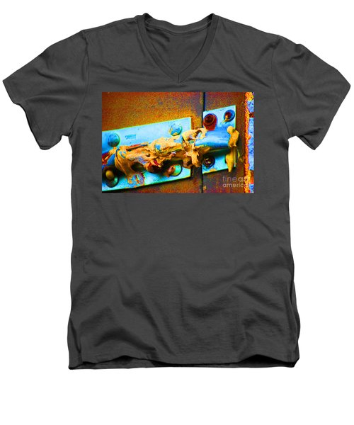 Men's V-Neck T-Shirt featuring the photograph No Trespassing by Christiane Hellner-obrien