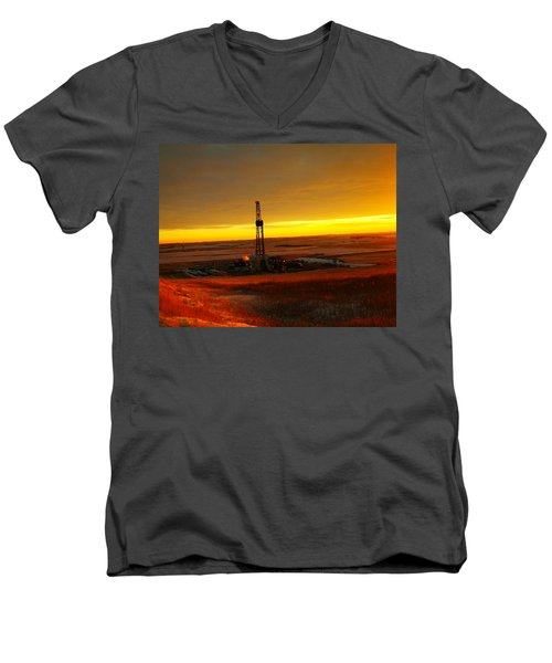 Nomac Drilling Keene North Dakota Men's V-Neck T-Shirt