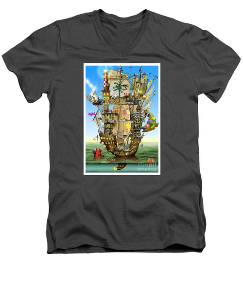 Norah's Ark Men's V-Neck T-Shirt by Colin Thompson