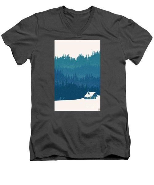 Nordic Ski Scene Men's V-Neck T-Shirt by Sassan Filsoof