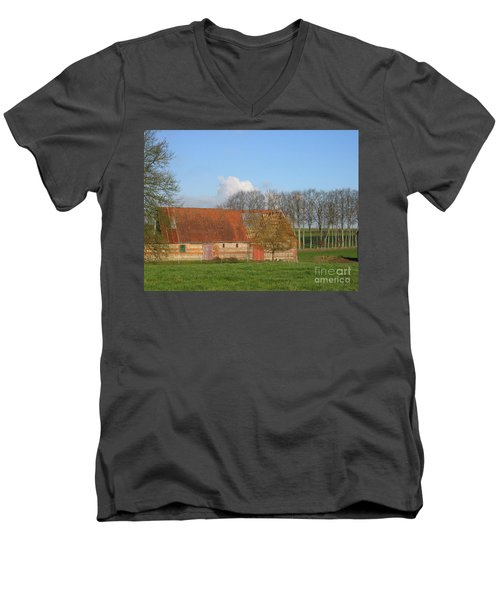 Men's V-Neck T-Shirt featuring the photograph Normandy Storm Damaged Barn by HEVi FineArt