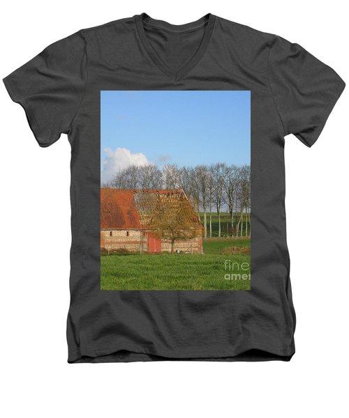 Normandy Storm Damaged Barn Men's V-Neck T-Shirt