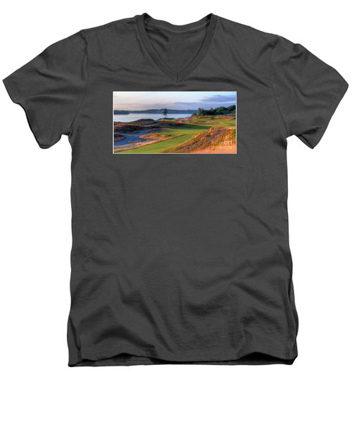 Men's V-Neck T-Shirt featuring the photograph North By Northwest - Chambers Bay Golf Course by Chris Anderson