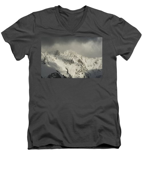North Cascades Mountains In Winter Men's V-Neck T-Shirt by Yulia Kazansky