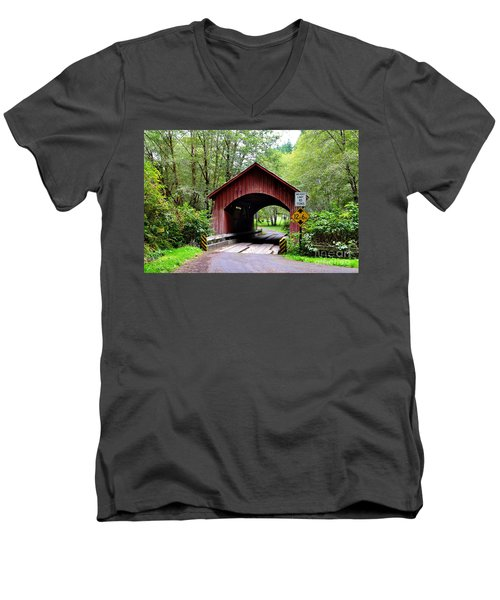North Fork Yachats Covered Bridge Men's V-Neck T-Shirt