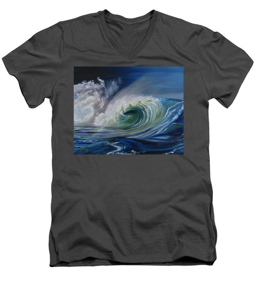 Men's V-Neck T-Shirt featuring the painting North Shore Curl by Donna Tuten