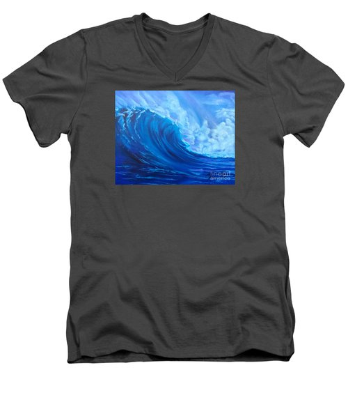Men's V-Neck T-Shirt featuring the painting Wave V1 by Jenny Lee