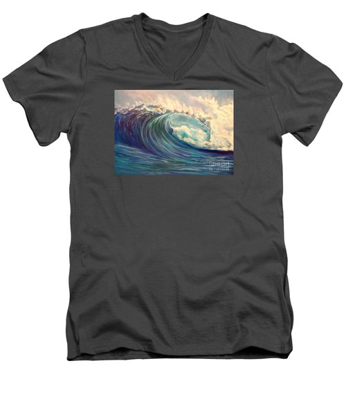 Men's V-Neck T-Shirt featuring the painting North Whore Wave by Jenny Lee