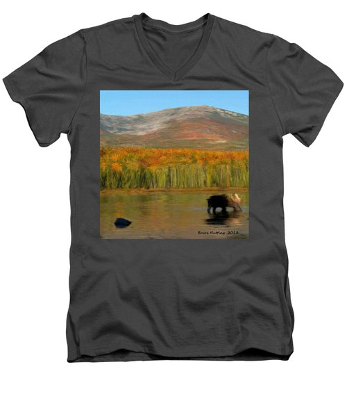 Men's V-Neck T-Shirt featuring the painting Northwest Moose by Bruce Nutting