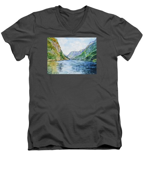 Men's V-Neck T-Shirt featuring the painting Norway Fjord by Irina Sztukowski