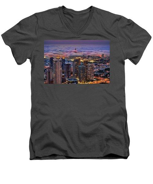 Men's V-Neck T-Shirt featuring the photograph Not Hong Kong by Ron Shoshani