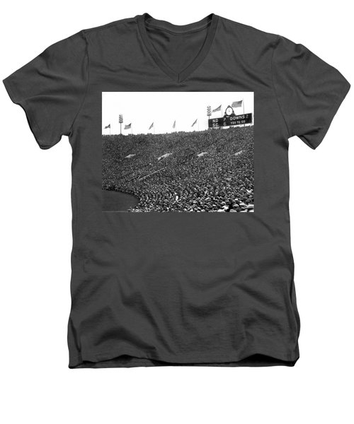 Notre Dame-usc Scoreboard Men's V-Neck T-Shirt by Underwood Archives