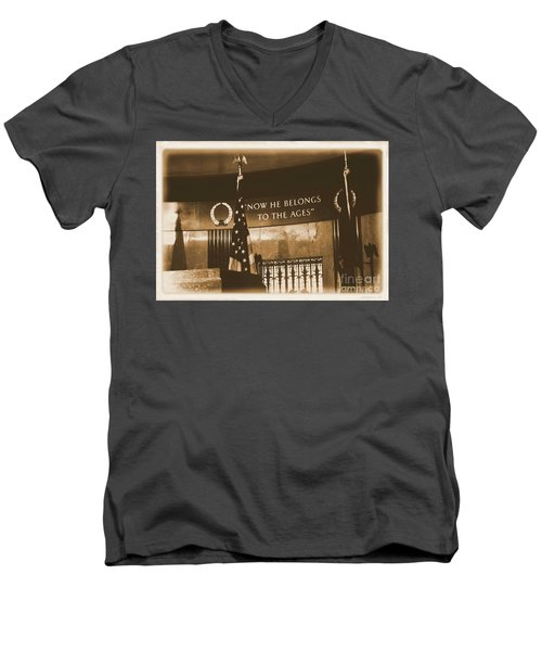 Men's V-Neck T-Shirt featuring the photograph Now He Belongs To The Ages by Luther Fine Art