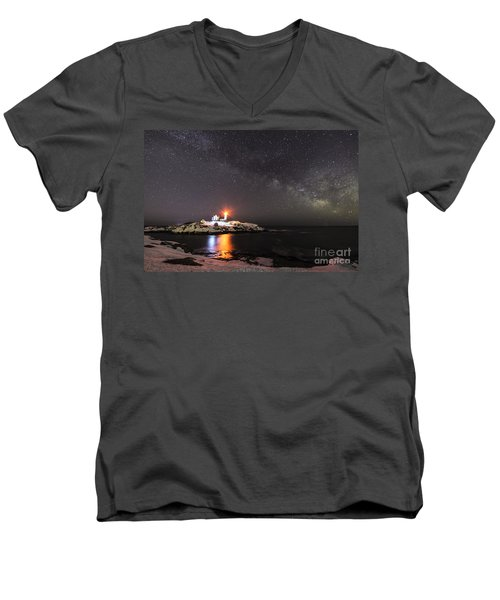Nubble Light With Milky Way Men's V-Neck T-Shirt