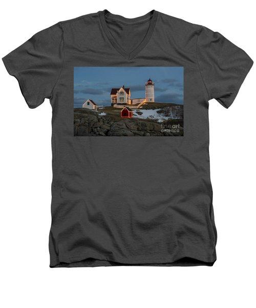 Nubble Lighthouse At Christmas Men's V-Neck T-Shirt
