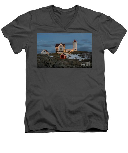 Nubble Lighthouse At Christmas Men's V-Neck T-Shirt
