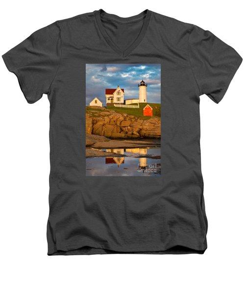 Nubble Lighthouse No 1 Men's V-Neck T-Shirt by Jerry Fornarotto