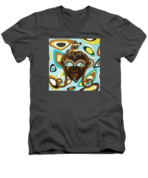 Men's V-Neck T-Shirt featuring the painting Nubian Modern  Mask by Joseph Sonday