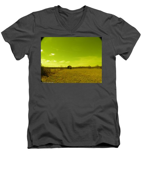 Men's V-Neck T-Shirt featuring the photograph Nuclear Fencerow by Nick Kirby