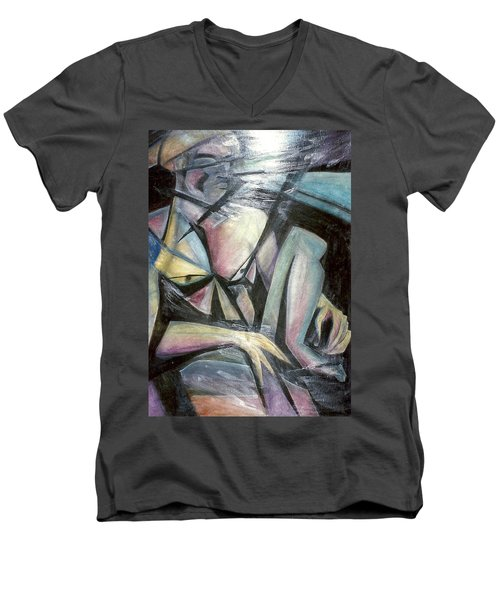 Men's V-Neck T-Shirt featuring the mixed media Nude Model In Studio by Carrie Maurer