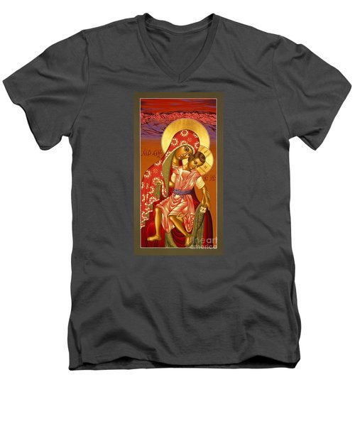 Men's V-Neck T-Shirt featuring the painting Nuestra Senora De Las Sandias 008 by William Hart McNichols