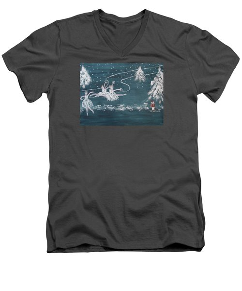 Nutcrackers Dance Of The Snowflakes Men's V-Neck T-Shirt by Sharyn Winters