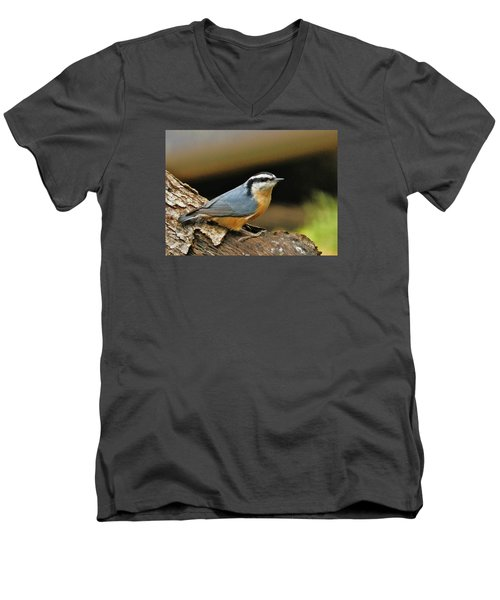 Men's V-Neck T-Shirt featuring the photograph Nuthatch Pose by VLee Watson