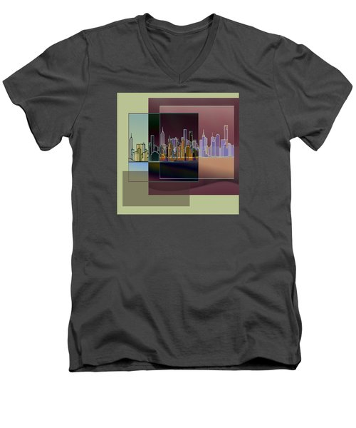 Nyc Abstract-3 Men's V-Neck T-Shirt by Nina Bradica