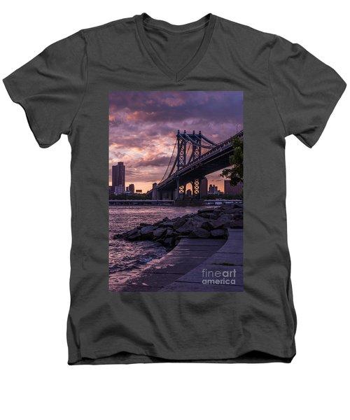 Nyc- Manhatten Bridge At Night Men's V-Neck T-Shirt by Hannes Cmarits