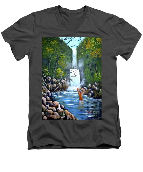 Nymph In Pool Men's V-Neck T-Shirt