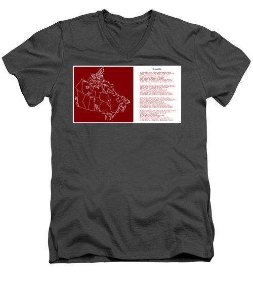O Canada Lyrics And Map Men's V-Neck T-Shirt