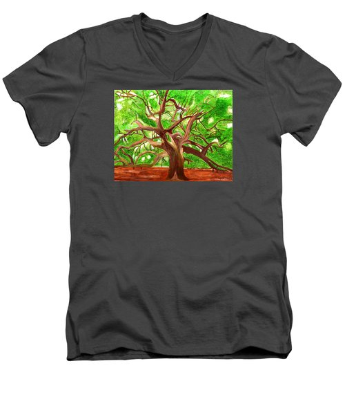 Men's V-Neck T-Shirt featuring the painting Oak Tree by Magdalena Frohnsdorff