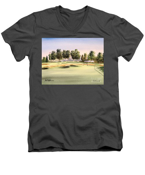 Men's V-Neck T-Shirt featuring the painting Oakmont Golf Course 14th by Bill Holkham
