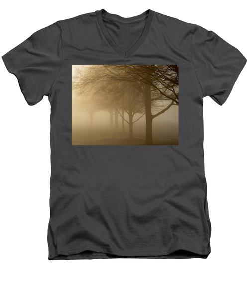 Men's V-Neck T-Shirt featuring the photograph Oaks In The Fog by Greg Simmons
