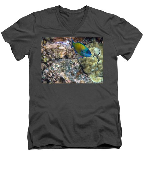 Ocean Color Men's V-Neck T-Shirt by Peggy Hughes