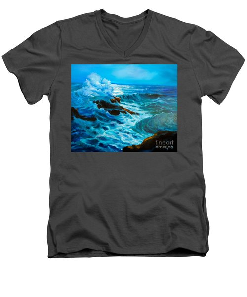 Men's V-Neck T-Shirt featuring the painting Ocean Deep by Jenny Lee