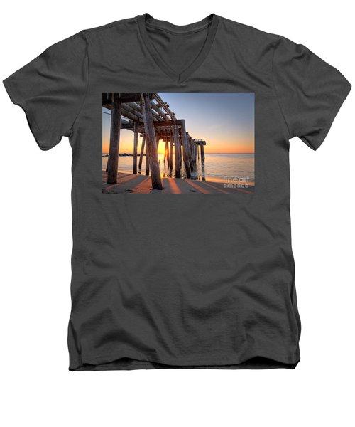 Ocean Grove Pier Sunrise Men's V-Neck T-Shirt by Michael Ver Sprill