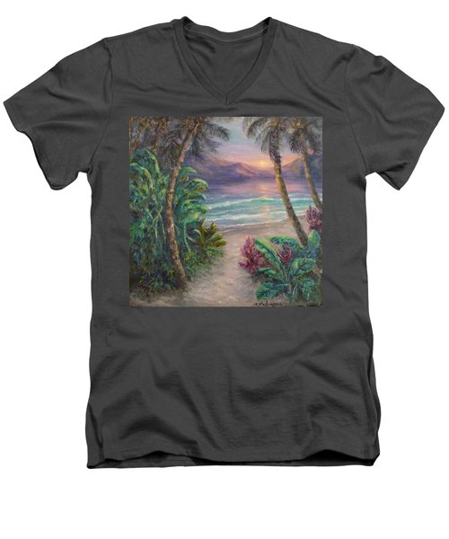 Ocean Sunrise Painting With Tropical Palm Trees  Men's V-Neck T-Shirt